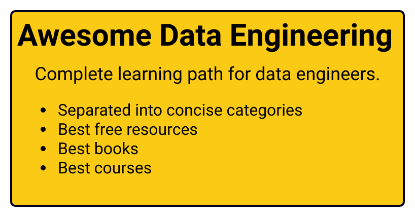 Awesome Data Engineering - Best resources, books, courses for learning